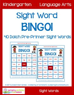 Dolch Pre-Primer Sight Word Bingo Here's a great set of 30 sight word playing cards, 40 sight word calling cards, and rainbow-colored star bingo markers. Please check it out! Dolch Sight Word List, Sight Words List, Sight Word Games, Reading Practice, Reading Groups, Word Reading, Pre Primer Sight Words, Bingo Set, Kindergarten Language Arts