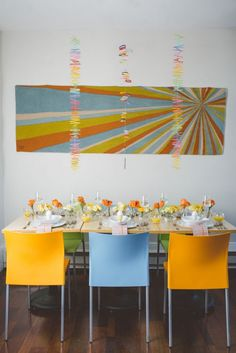 Scandinavian minimal modern orange and blue centerpieces and mobiles // Emily Elizabeth Events + A love supreme photography + Pretty Flowers Maine + Decorative Traces + Solo Bistro + angela adams