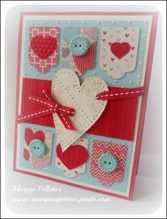 Valentine Card...By:stampinupetmoi.jimdo  This uses the real red, pool party, and primrose petals color scheme.  Cute!