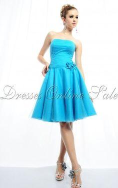A-line Strapless Knee-length Bridesmaid Dress