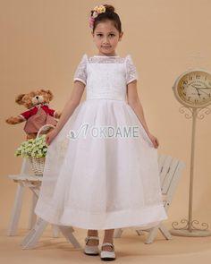 Prinzessin Juwel Ausschnitt romantisches Kommunionkleid/ Blumenmädchenkleid mit kurzen Ärmeln