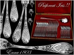 French Sterling Silver Dinner Flatware Set 37 pc Iris w/Oak Chest by Puiforcat