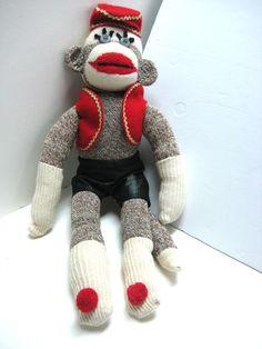 Red Heel Sock Fancy Organ Grinder Monkey Hat Vest Pants Buttons Plush Doll XLNT   eBay