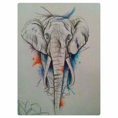 #latatuajeriagdl #tattooartist #tattooed #tattooist #elephant #elefante #acuarela #watercolours #watercolor #colors #sketch #drawing #skin