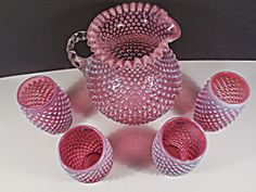 Fenton Cranberry Hobnail 70 oz JUG and Tumbler Set