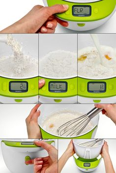 Smart Mix, designed by J. Ryan Eder and Chris Daniels of Priority Design, combines a digital scale, measuring cup and mixing bowl so you can add and weigh ingredients both by volume and by weight while preparing the recipe. Really smart industrial design! There's also a Smart Measuring Cup