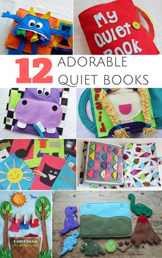 12 Adorable Quiet Bo 12 Adorable Quiet Books Pages and Patterns to Buy or DIY. Cute activity books to keep toddlers preschoolers and young kids engaged learning and practicing fine motor skills. Diy Busy Books, Diy Quiet Books, Baby Quiet Book, Felt Quiet Books, Craft Books, Baby Books, Quiet Book Templates, Quiet Book Patterns, Infant Activities