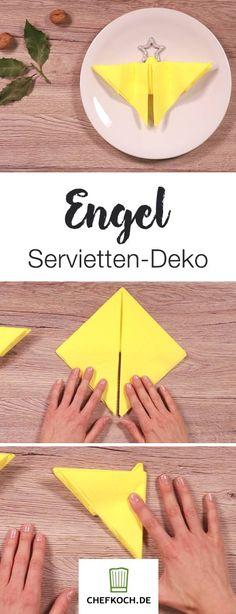 Hübsche Servietten-Deko zu Weihnachten: Engel-Serviette. Hier geht's zum Anleitungs-Video.