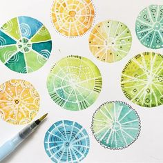Circles🎾Experimenting with shapes using the techniques from my @skillshare class 💙#shapestudies #linedrawing #stamping #skillshare #watercolor #maskingtechnique #waterbrush #atelierduclos #lucieduclosworkshops #hotpress #koiwatercolors #marvyuchida #acrylicpaint #artschool #watercolorfieldtrip