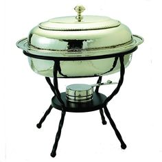Beautifully present and keep food at the ideal serving temperature with the elegant Old Dutch International Oval Chafing Dish. Stainless steel water bath design won't dry out during use and is oven safe up to F. Includes a wrought-iron stand. Specialty Cookware, Chafing Dishes, Dish Sets, Holiday Dinner, Charcoal Grill, Bath Design, Image House, Polished Nickel, Kitchen Dining