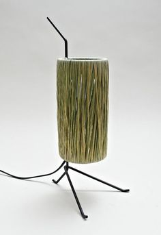 Jacques Biny; Enameled Metal and Natural Fiber Table Lamp, 1950s.