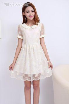 洗練された韓国スタイルスリム糸レース刺繍スカート