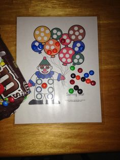 Coloring sorting clown with M&Ms (download for free here.)
