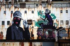 Streetart: Abandoned Ship turns into floating Graffiti Gallery (10 Pictures + Clip) > Design und so, Film-/ Fotokunst, Paintings, Streetstyle, urban art > Fin Dac, graffiti, public art, ship, streetart, wales