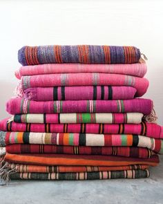 Home color inspiration: Vintage striped Moroccan blankets. (Pink doesn't have to be girlie!)