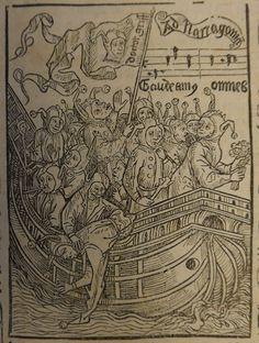 Fools sailing to Narragonia, from a 1499 Basel edition of Sebastian Brandt's Narrenschiff  (British Library IA.37957)