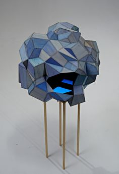 blue - sculpture - Amy Joy Watson - Untitled, 2011, balsa wood, watercolour, Indian ink, polyester thread, glow-in-dark pigment, pine
