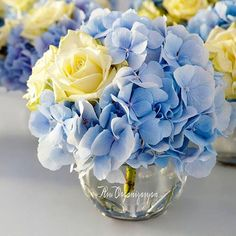 Hydrangeas & roses wedding centerpiece.                                                                                                                                                     More