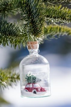 Driving Home Dôme Ornament, Glassflaske