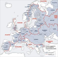 Main European drainage divides (red lines) separating catchments (grey regions). The map shows the European rivers' catchment areas and main watersheds. Map by de: sansculotte. Geography Map, Map Globe, Alternate History, Baltic Sea, Historical Maps, Rivers, Science, Nature, Dreams