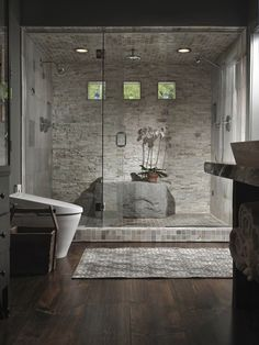 Wall Design Ideas | ... with Stacked Stone Wall: Unique Bathroom with Stacked Stone Wall