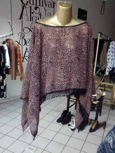 Kaftan negro con rosa  Unitalla $220.00