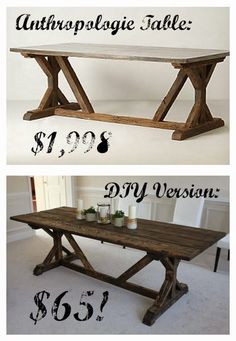 Build a stylish kitchen table with these free farmhouse table plans. They come in a variety of styles and sizes so you can build the perfect one for you. Farmhouse dining room table and Farm table plans. Build A Table, Diy Table, Dinning Room Table Diy, Table Bench, Diy Kitchen Tables, Farm House Dinning Room, Kitchen Ideas, Porch Table, Rustic Kitchen Tables