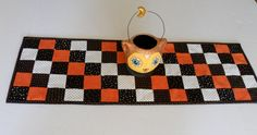 Sale Halloween Quilted Table Runner Table Topper Black White Orange by ForgetMeNotQuilteds on Etsy