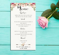 """Files include : : : : : : : : : : : : : : : : : : : : : : : Ivory Watercolor paper Background with flower poises wedding menu. Card size: 4 x 7.5 inches For same theme wedding invitation kit (photo #2): https://www.etsy.com/listing/230835077/invitation-kit-wedding-invitation-pink?ref=shop_home_active_5 To Place Your Order : : : : : : : : : : : : : : : : : : : : : : : • Purchase this listing • In the """"Notes to Seller"""" box, enter all the information you want included in the design. • You..."""