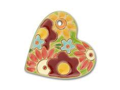 Golem Design Studio Stoneware Large Flower Bouquet Heart Pendant
