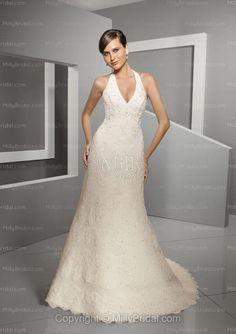 A-line V-neck Embroidery Beading Taffeta Court Train Wedding Dress at Millybridal.com