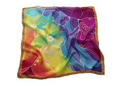 'Blessing' silk scarf - little scarf  with blending colors  http://silkyway.hu/english