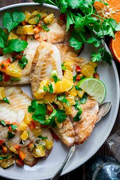 Tilapia with Tangerine Salsa is a fast and healthy weeknight meal Healthy Tilapia, Healthy Salmon Recipes, Fish Recipes, Seafood Recipes, Dinner Recipes, Cooking Recipes, Recipies, Ww Recipes, Healthy Foods