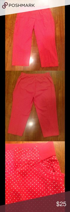 Coral polka dot super cut pants! Woman Within 24WP Super cute pants!!! Pockets in front and back. Tags are missing but has the extra buttons attached Woman Within  Pants
