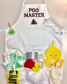 Poo Master Apron, new dad gag gift, diaper party funny present, baby shower present for daddy Baby Shower For Men, Funny Baby Shower Gifts, Baby Shower Presents, Baby Shower Cakes, Baby Gifts For Dad, Gifts For New Dads, Daddy Survival Kits, Diaper Parties, Baby Shower Gender Reveal