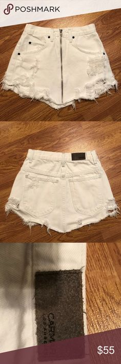 LF white denim skirt LF Carmar white denim zip up skirt! Super cute for spring and summer. White is the perfect color because everything matches with it!!! This skirt used to be my absolute favorite but sadly I've gained weight and it does not fit any longer. Gently worn, great condition LF Skirts Mini