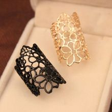 1PCS New Women Trendy Cutout Lace Flower Ring Black Gold Finger Rings For Women Fashion Jewelry Accessories(China (Mainland))