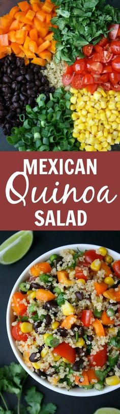 Mexican Quinoa Salad with cumin-lime dressing! So healthy, fresh, and great for picnics and packed lunches! (vegan, gluten-free)