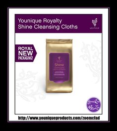 Royalty Shine Cleansing Cloths Swipe Shine to remove makeup and cleanse skin Wipe away the makeup of the day with a cloth that not only removes makeup but also cleanses and nourishes your skin at the same time. A special formula of sunflower and olive oils, rosemary, jojoba, and vitamin E leave you free of makeup and feeling clean and refreshed.  #YOUNIQUE #australia #newzealand #germany #spain #france #canada #usa #uk #mexico #hongkong #beauty #makeup