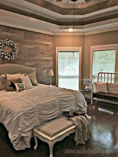 Interior Inspiration [Bedroom, Wood Walls, Behind Bed, Back Wall, Brown, Grey, Gray, Feature Wall, distressed, Vintage, Rustic, Warm, Natural, Aged, Bohemian, Boho-chic, Farmhouse, shabby-chic]