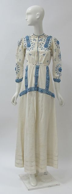 Dress Date: ca. 1910 Culture: British Medium: linen, cotton