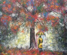 Resilience, painting of dripping tree. @Christina Childress Deubel seems to choose colors I love.