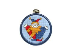 Court Jester  Clown  Cross Stitch Picture in round by Fabrilushus, £4.00