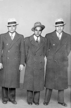 "Well-dressed Hitmen: Murder Inc Group Photo taken at NYPD in From left to right: Vito ""Chicken Head"" Gurino, Anthony Varrichio, and Larry Mazzarise From: New York City Gangland by Arthur Nash Real Gangster, Mafia Gangster, Famous Outlaws, Mafia Crime, Ghost In The Machine, Al Capone, Guys And Dolls, Look Vintage, The Godfather"