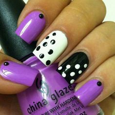 Purple , White , Black ,dots
