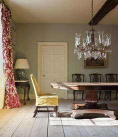 Hampshire Vicarage Dining Room  love the punch of red against the calm of the gentle walls.