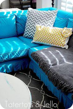 Reclining Sofa Make a Geometric Pillow using a cutting machine and fabric interfacing Couch FurnitureFurniture SlipcoversTurquoise