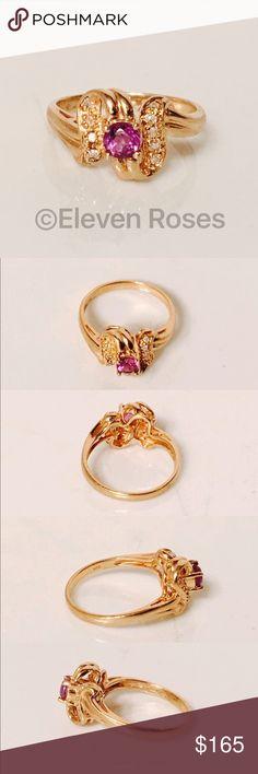 c707a964180f 10k Gold Amethyst  amp  Diamond Birthstone Ring Amethyst  amp  Diamond  February Birthstone Ring -