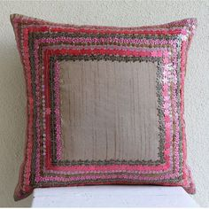"Pretty Pink Flowers - Pink Art Silk 18""X18"" Cushion Covers"