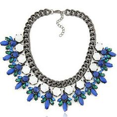 Cobalt and Emerald Leaf Necklace
